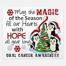 D Oral Cancer Christmas Penguins King Duvet