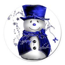 Cute Snowman in Blue Velvet Round Car Magnet