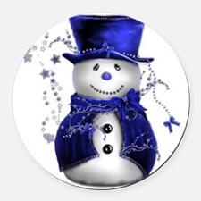 Cute Snowman in Blue Velvet Round Car Magnet