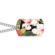 Black Retro Hawaii Hibiscus Dog Tags