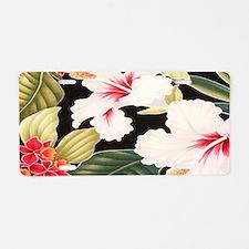 Black Retro Hawaii Hibiscus Aluminum License Plate