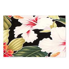 Black Retro Hawaii Hibisc Postcards (Package of 8)