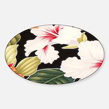 Black Retro Hawaii Hibiscus Sticker (Oval)