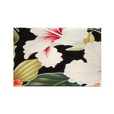 Black Retro Hawaii Hibiscus Rectangle Magnet