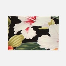 Black Retro Hawaii Hibiscus Rectangle Magnet