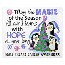 D Male Breast Cancer Christmas Penguins King Duvet