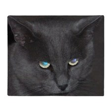 Unique Cat w/ Cool Eyes Throw Blanket