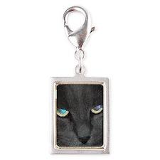 Unique Cat w/ Cool Eyes Silver Portrait Charm
