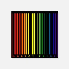 "LGBTQI PRIDE Bar Code Square Sticker 3"" x 3"""