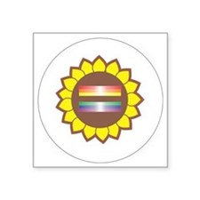 """2.25 Button with Rainbow Square Sticker 3"""" x 3"""""""