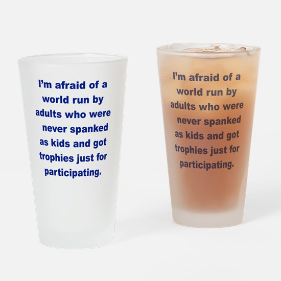 IM AFRAID OF A WORLD RUN ADULTS  WH Drinking Glass