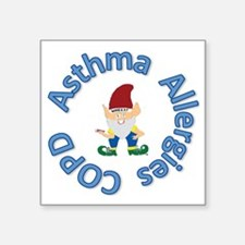 """Asthma,Allergy,COPD in Blue Square Sticker 3"""" x 3"""""""