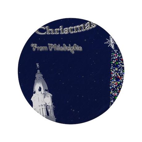 "Merry Christmas from Philadelphia 3.5"" Button"