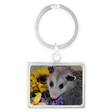 Posing Opossum Landscape Keychain