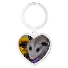 Posing Opossum Heart Keychain