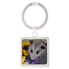 Posing Opossum Square Keychain