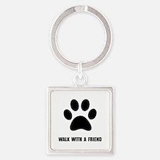 Walk Pet Square Keychain