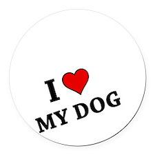 I Heart My Dog Round Car Magnet
