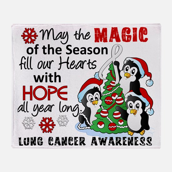 D Lung Cancer Christmas Penguins Throw Blanket