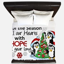D Lung Cancer Christmas Penguins King Duvet