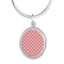 Pink Polka Dots Silver Oval Necklace