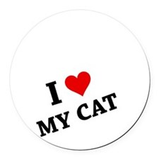 I Heart My Cat Round Car Magnet
