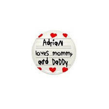 Adrian Loves Mommy and Daddy Mini Button