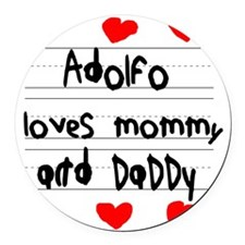 Adolfo Loves Mommy and Daddy Round Car Magnet