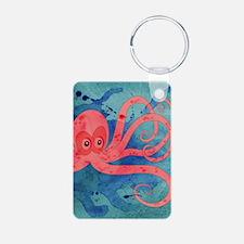 Pink Octopus Aluminum Photo Keychain
