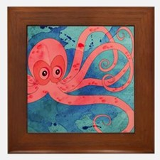 Pink Octopus Framed Tile