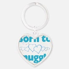 Born to Snuggle Blue Boys Dogs Heart Keychain