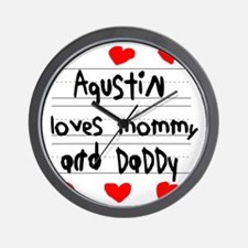 Agustin Loves Mommy and Daddy Wall Clock