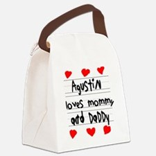 Agustin Loves Mommy and Daddy Canvas Lunch Bag