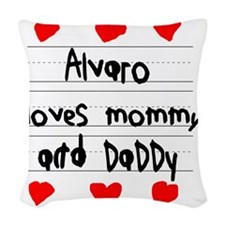 Alvaro Loves Mommy and Daddy Woven Throw Pillow