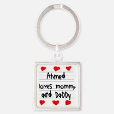 Ahmed Loves Mommy and Daddy Square Keychain