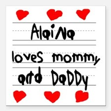 "Alaina Loves Mommy and D Square Car Magnet 3"" x 3"""