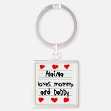 Alaina Loves Mommy and Daddy Square Keychain