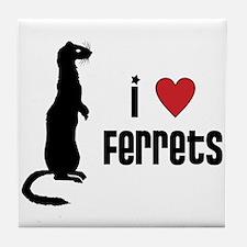 Ferret Tile Coaster: I Love Ferrets