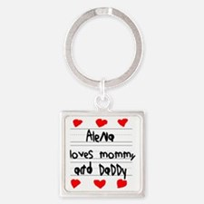 Alena Loves Mommy and Daddy Square Keychain