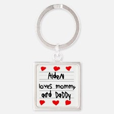 Alden Loves Mommy and Daddy Square Keychain