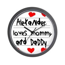 Alexander Loves Mommy and Daddy Wall Clock
