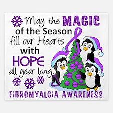 D Fibromyalgia Christmas Penguins King Duvet