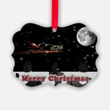 Christmas Cow over roof tops Ornament