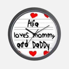 Alia Loves Mommy and Daddy Wall Clock