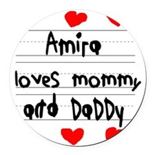 Amira Loves Mommy and Daddy Round Car Magnet