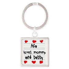 Alia Loves Mommy and Daddy Square Keychain