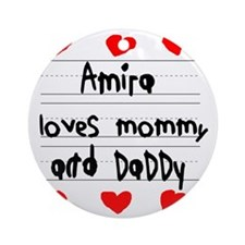 Amira Loves Mommy and Daddy Round Ornament