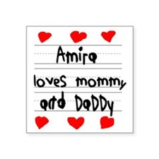 """Amira Loves Mommy and Daddy Square Sticker 3"""" x 3"""""""