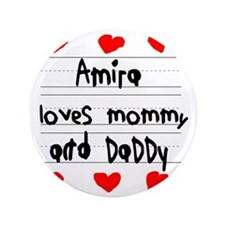 """Amira Loves Mommy and Daddy 3.5"""" Button"""