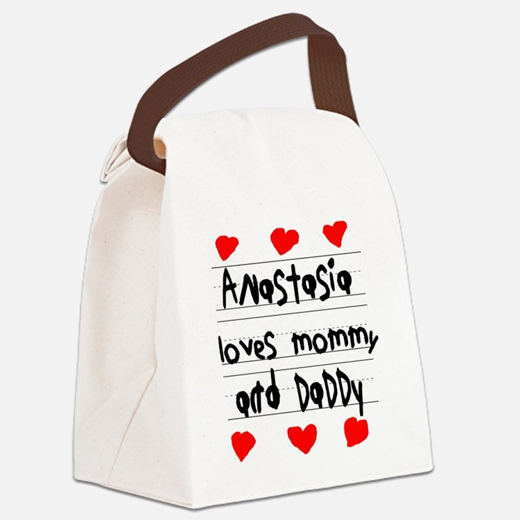Anastasia Loves Mommy and Daddy Canvas Lunch Bag